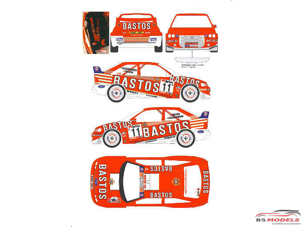 TK24008 Ford Escort WRC Bastos  Ypres-Westhoek Rally 1998 Waterslide decal Decal