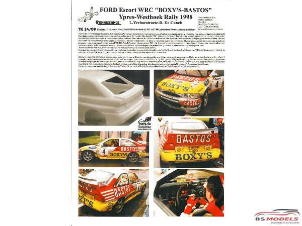 TK24009 Ford Escort WRC Boxy's-Bastos Ypres-Westhoek Rally 1998 Waterslide decal Decal
