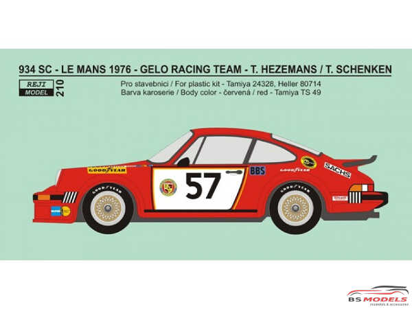 "REJI210 Porsche 934 ""GELO Racing""  #57  LM 1976  decal Waterslide decal Decal"