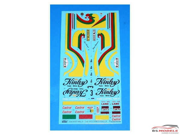 """REJI274 Ford Escort RS1800 """"Kinley Tonic""""  2nd Ypres Rally 1978 Waterslide decal Decal"""