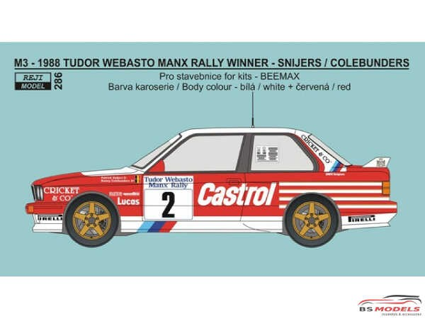 REJI286 BMW M3 Tudor Webasto Manx Rally winner 1988  Snijers/Colebunders Waterslide decal Decal