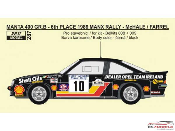 REJI287 Opel Manta 400 Gr B Tudor Webasto Manx Rally 1986  McHale/Farrel Waterslide decal Decal