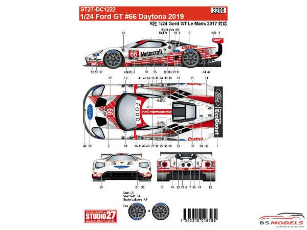 STU27DC1222 Ford GT #66  Daytona 2019 Waterslide decal Decal
