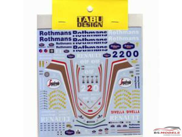 TABU20069 Williams FW16 Full sponsor decal Waterslide decal Decal
