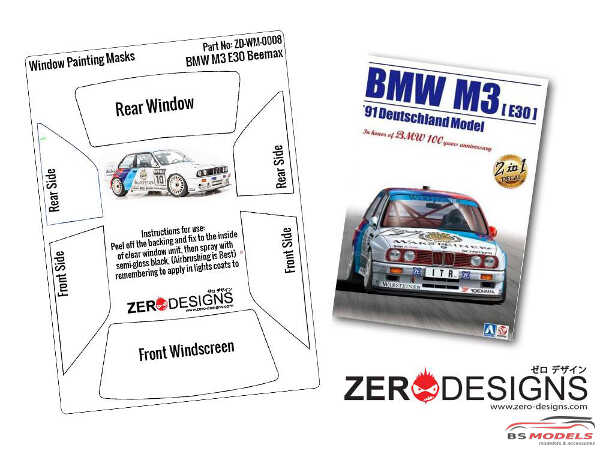 ZDWM0008 BMW M3 E30 Window painting masks (Beemax)) Multimedia Accessoires