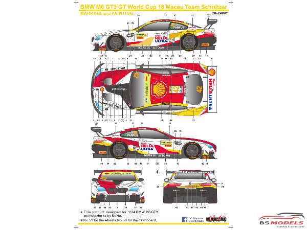 SK24081 BMW M6 GT3  FIA GT World Cup Macau winner   #42  Farfus Waterslide decal Decal