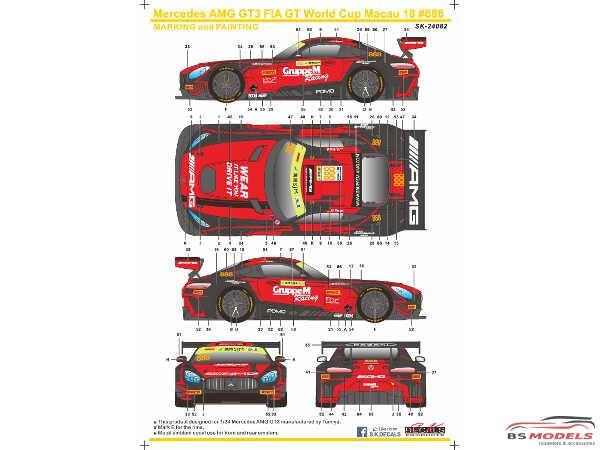 SK24082 Mercedes AMG GT3 FIA World GT Cup Macau 18  #888  M. Engel Waterslide decal Decal