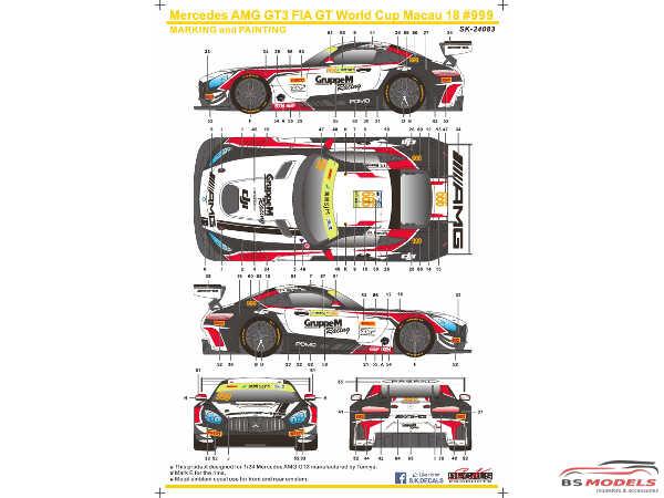 SK24083 Mercedes AMG GT3 FIA World GT Cup Macau 18  #999  R. Marciallo Waterslide decal Decal