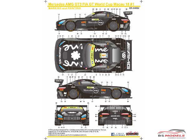 SK24084 Mercedes AMG GT3 FIA World GT Cup Macau 18  #1  E. Motara Waterslide decal Decal