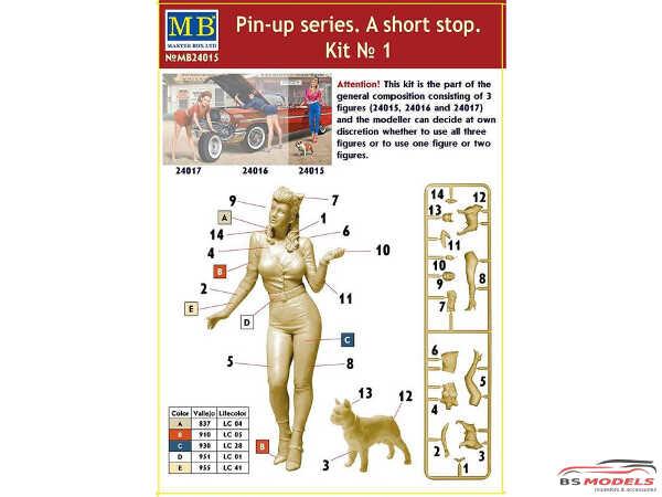 "MB24015 Pin-up series  ""a short stop kit #1  girl + dog Plastic Kit"