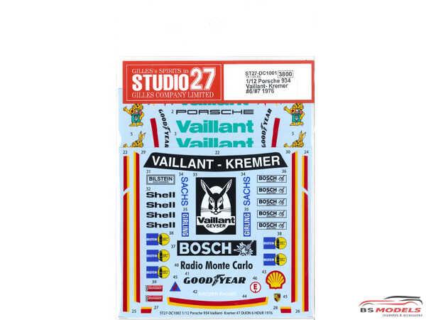 STU27DC1001 Porsche 934 Vaillant-Kremer  #6 #7   1976 Waterslide decal Accessoires