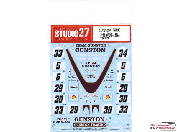"""STU27DC1075 Lotus Type 72D  """"Team Gunston""""  1974 -1975 Waterslide decal Accessoires"""