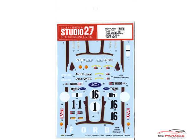 "STU27DC1077 Lotus Type 49  ""Team Gunston""  RSA  1968-1969 Waterslide decal Accessoires"
