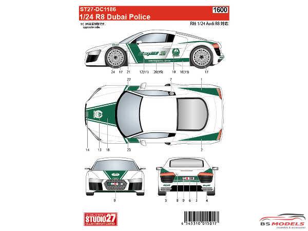 STU27DC1186 Audi R8  Dubai Police Waterslide decal Accessoires