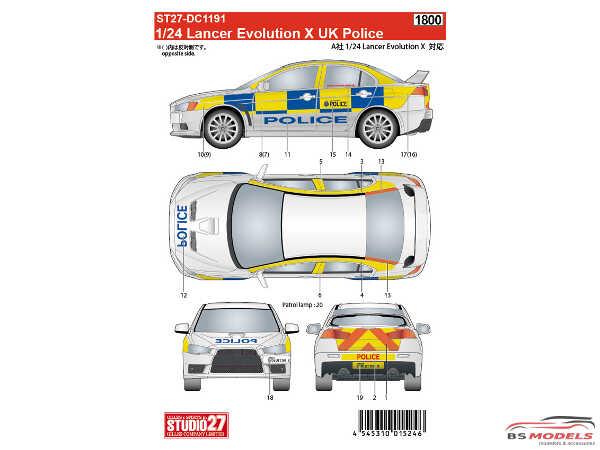 STU27DC1191 Lancer EVO X  UK Police Waterslide decal Accessoires