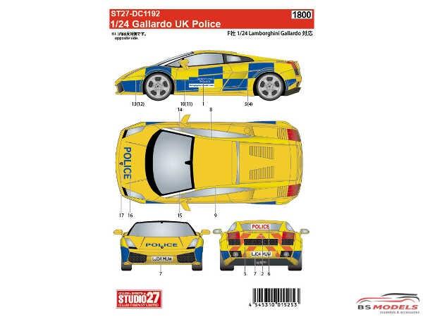 STU27DC1192 Lamborghini Gallardo  UK Police Waterslide decal Accessoires