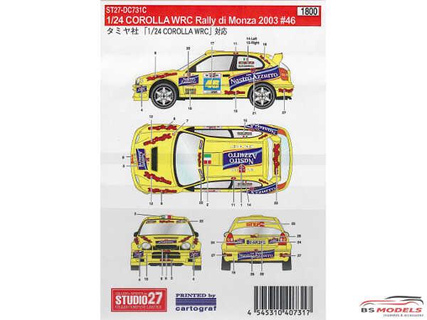 STU27DC731C Toyota Corolla Rally di Monza 2003  #46 Waterslide decal Decal