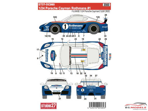 "STU27DC990 Porsche Cayman ""Rothmans"" #1 Waterslide decal Accessoires"