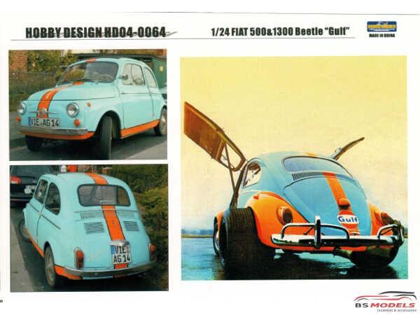 "HD040064 Fiat 500  or VW 1300 Beetle   ""Gulf"" Waterslide decal Decal"