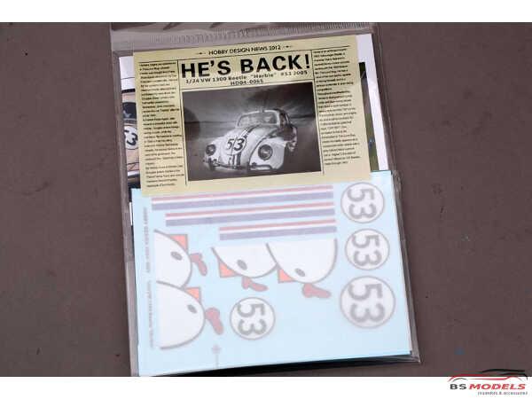 """HD040065 VW 1300 Beetle """"Herbie""""  decal Waterslide decal Decal"""