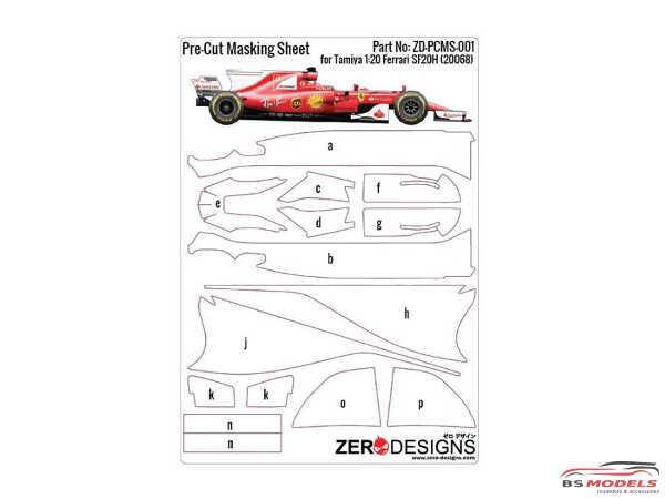 ZDPCMS001 Pre-Cut masking sheet for Scuderia Ferrari SF70H (TAM 20068) Multimedia Accessoires