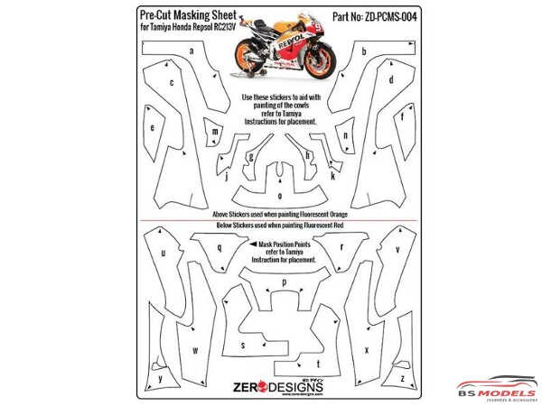 ZDPCMS004 Pre-Cut masking sheet for Repsol Honda RC213V (TAM 14130) Multimedia Accessoires