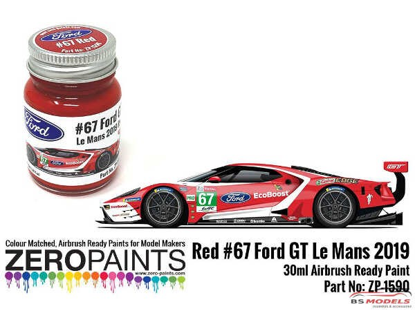 ZP1590 #67 Ford GT Le Mans Red Paint  30ml Paint Material