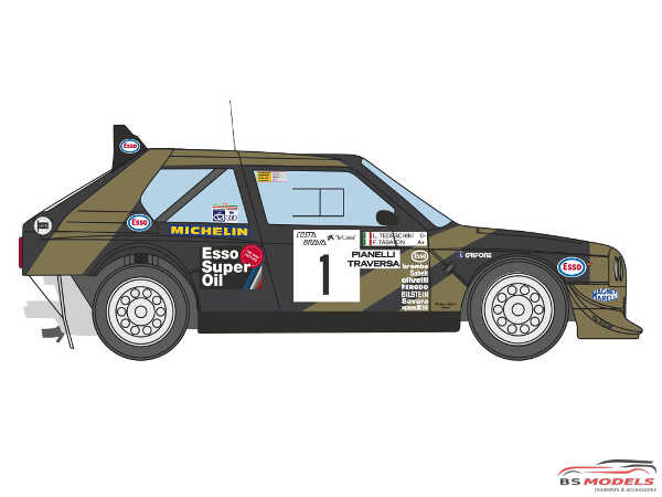 DCLDEC021 Lancia Delta S4 Grifone Esso Team  #1   Costa Brava Rally 1986 Waterslide decal Decal