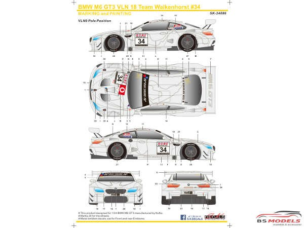 SK24086 BMW M6 GT3  VLN '18  Team Walkenhorst  #34 Waterslide decal Decal