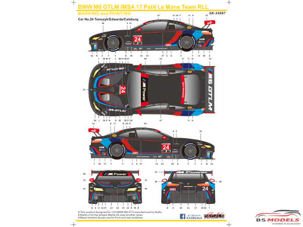 SK24087 BMW M6 GTLM IMSA '17  Team RLL Waterslide decal Decal