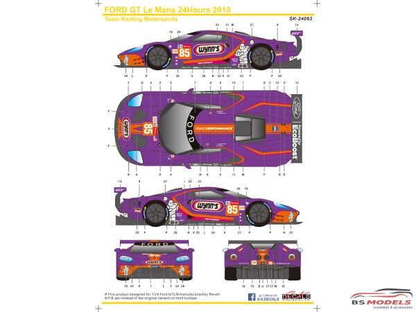 SK24093 Ford GTLM  Le Mans 24H  '19  Keating Motorsports Wynn's Waterslide decal Decal