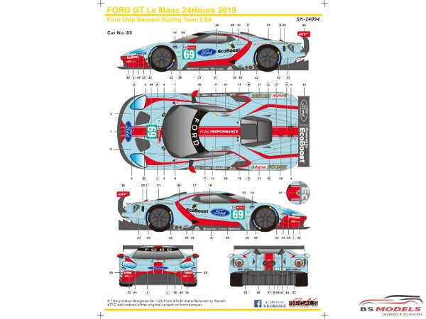 SK24094 Ford GTLM  Le Mans 24H  '19  Ford Chip Ganassi Team USA Waterslide decal Decal