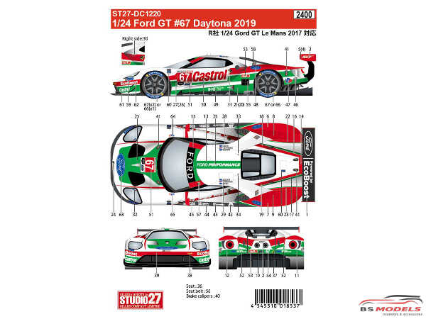 STU27DC1220 Ford GT Daytona 2019  #67 Multimedia Decal