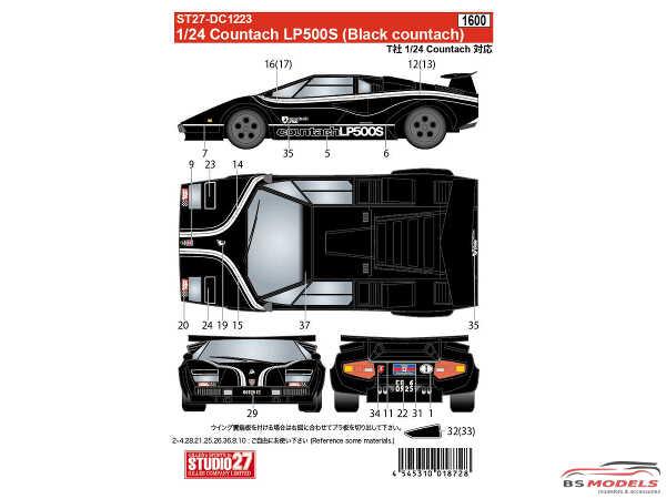 STU27DC1223 Lamborghini Countach LP500S  (Black Body) Waterslide decal Decal
