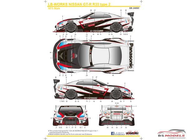 SK24091 LB-Works Nissan GT-R  R35 type 2 GT3 style Waterslide decal Decal