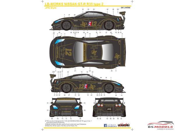 SK24096 LB-Works Nissan GT-R R35 type 2  JPS style Waterslide decal Decal