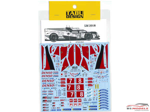TABU24085 Toyota TS050 LM 2018-2019 Full sponsor logo Waterslide decal Decal