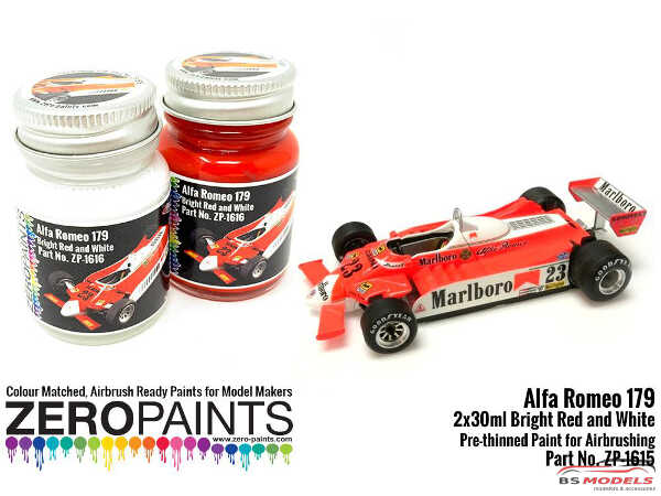 ZP1615 Alfa Romeo 179C Fluorescent red and white paint set 2x30ml Paint Material