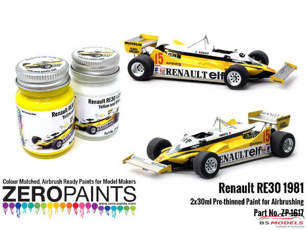 ZP1617 Renault RE30 1981 Yellow and white paint set 2x30ml Paint Material